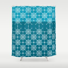 Portuguese Tiles of Lisboa in Blue with Glitch Shower Curtain
