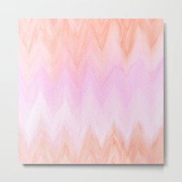 Geometric hand painted coral pink watercolor ikat chevron Metal Print