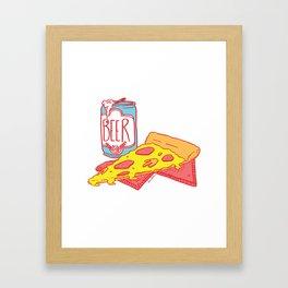 Pizza & Beer Framed Art Print