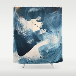 Against the Current: A bold, minimal abstract acrylic piece in blue, white and gold Shower Curtain