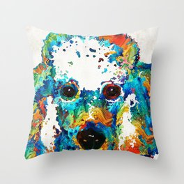 Colorful Poodle Dog Art by Sharon Cummings Throw Pillow