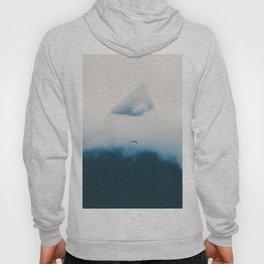 Misty Mountain Peak Blue Hues Minimalist Modern Photo Single Bird Hoody