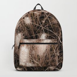 blooming grass flowers with brown dry grass background Backpack