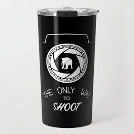 Anti-poaching Elephant for Wildlife Photographers White on Black Travel Mug