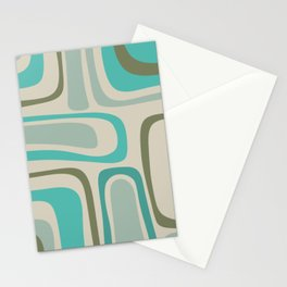 Palm Springs Mid Century Modern Abstract Pattern in Vintage Ecru, Turquoise, and Olive Stationery Cards