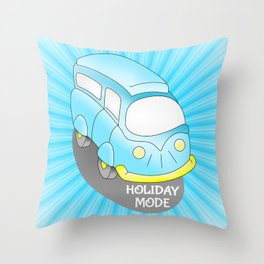 Road Trip Blue Van Throw Pillow