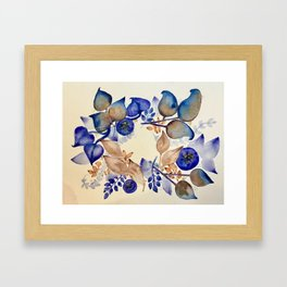 Blueberry Gold Leaf Wreath Framed Art Print