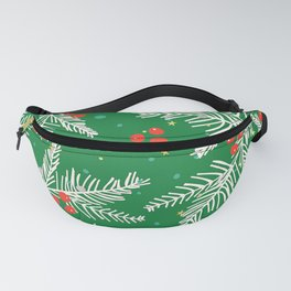 Christmas Snow-Covered Pine Tree Branches Seamless Pattern Fanny Pack