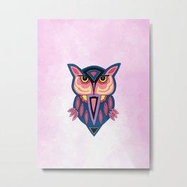 Owl On Pink Metal Print