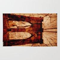 brooklyn bridge Area & Throw Rugs featuring Brooklyn Bridge by Del Vecchio Art by Aureo Del Vecchio