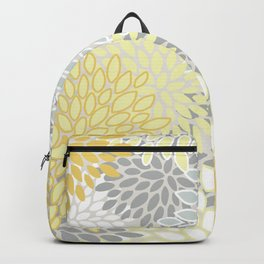 Floral Prints, Soft, Yellow and Gray, Modern Print Art Backpack