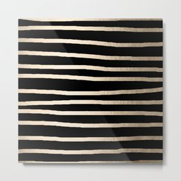 Simply Drawn Stripes White Gold Sands on Midnight Black Metal Print