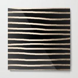 Simply Drawn Stripes White Gold Sands on Midnight Black Metal Print
