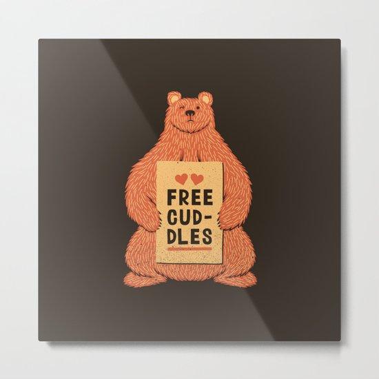 Cute Bear Free Cuddles Orange Metal Print