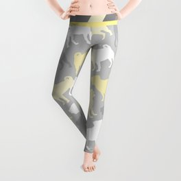Grey and Yellow Pugs Pattern Leggings