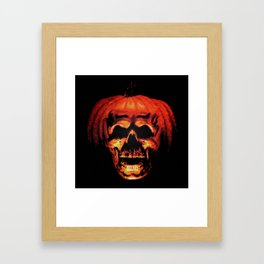 Halloween II Pumpkin Skull Stained Glass Framed Art Print