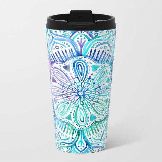 Iridescent Aqua and Purple Watercolor Mandala Metal Travel Mug