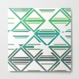 Geometric pattern green and blue triangles Metal Print