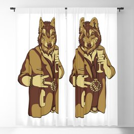 Sophisticated Wolf - having a drink Blackout Curtain