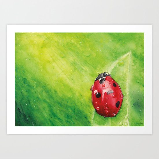 Lady Bug ,   Art Watercolor Painting print by Suisai Genki  Art Print
