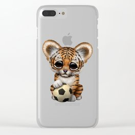 Tiger Cub With Football Soccer Ball Clear iPhone Case