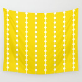 Geometric Droplets Pattern Linked - Summer Sunshine Yellow and White Wall Tapestry