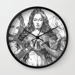 SOLVE ET COAGULA. New Composition. Ladies. Damascus. Triptych. Part 2. Illustration. INK ART. Yury F Wall Clock