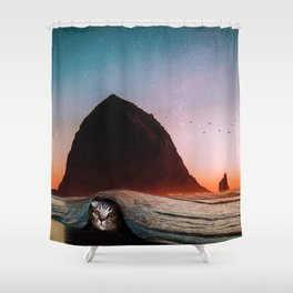 cat and the sea Shower Curtain