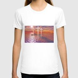 Christian crosses on red sea T-shirt