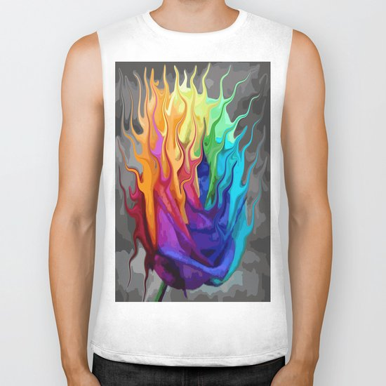 colorful flaming flower Biker Tank