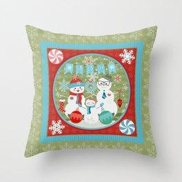 Winter Snowmen Family Holiday Christmas Art Throw Pillow