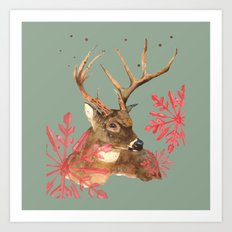 Forest Royalty, Stag, Deer, Christmas Stag, Woodland animals Art Print