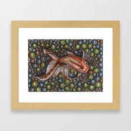 Koi fish with glass Framed Art Print