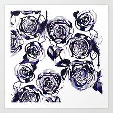 Inky Roses Art Print