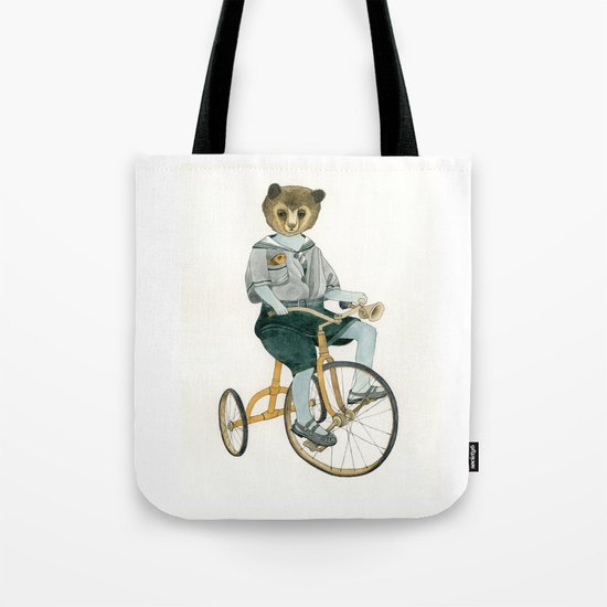 Bear on a Tricycle Tote Bag