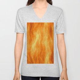Red flame burning Unisex V-Neck