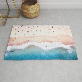 Aerial: Sandy Beach in Vivid Colours Rug