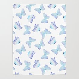Lilac aqua blue watercolor hand painted butterfly Poster