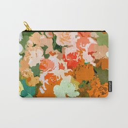 Velvet Floral, Summer Eclectic Botanical Blossom Blush Painting, Nature Colorful Garden Illustration Carry-All Pouch