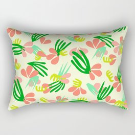 Henri's Garden in lemongrass // tropical flora pattern Rectangular Pillow