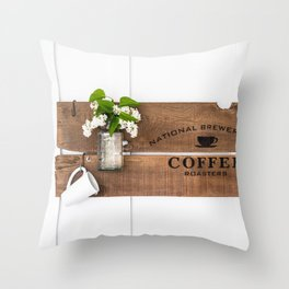 National Brewers Coffee Sign Throw Pillow