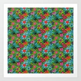 Pattern kitties and flowers Art Print