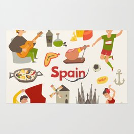 Spain traditional symbols set. Travel tourist element.Traditional spainish corrida, flamenco, guitar Rug