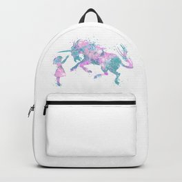 Girl and Unicorn Colorful Teal Pink Watercolor Kids Art Backpack