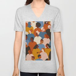 Diverse group of stylish people standing together. Unisex V-Neck