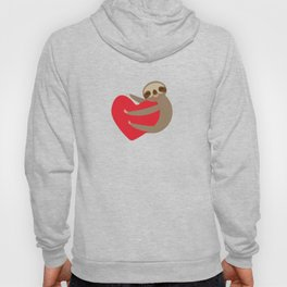 Valentines day card. Funny sloth with a red heart Hoody