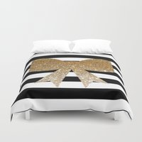 bows Duvet Covers featuring Golden Bows by Pink Berry Patterns