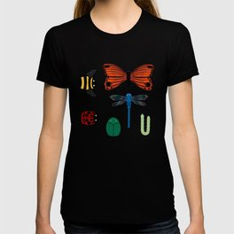 Bugs and Butterflies in colour on white T-shirt