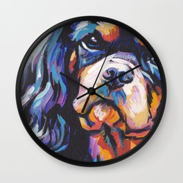 black and tan Cavalier King Charles Spaniel Dog Portrait Pop Art painting by Lea Wall Clock