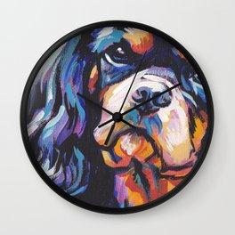 black and tan Cavalier King Charles Spaniel Dog Portrait Pop Art painting by Lea Wall Clock